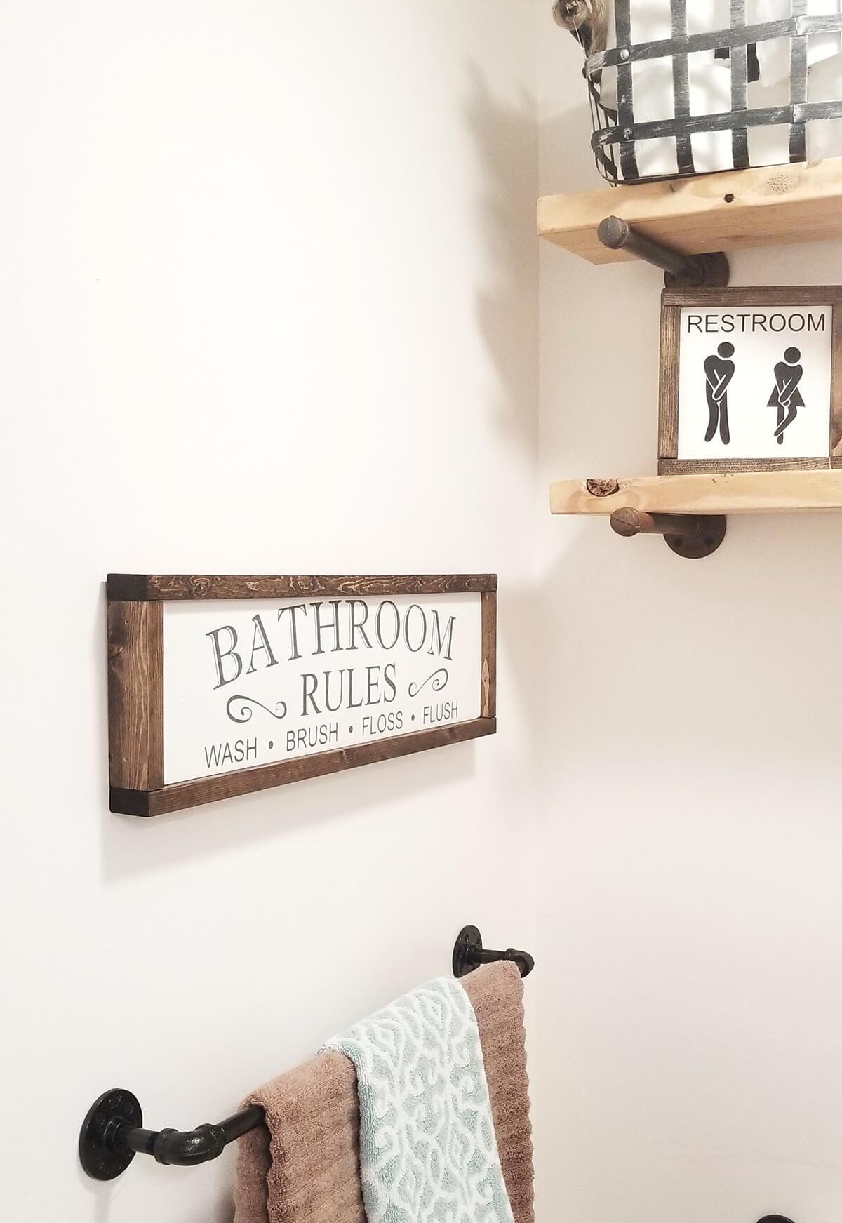 Enseigne murale de ferme de règles de salle de bain