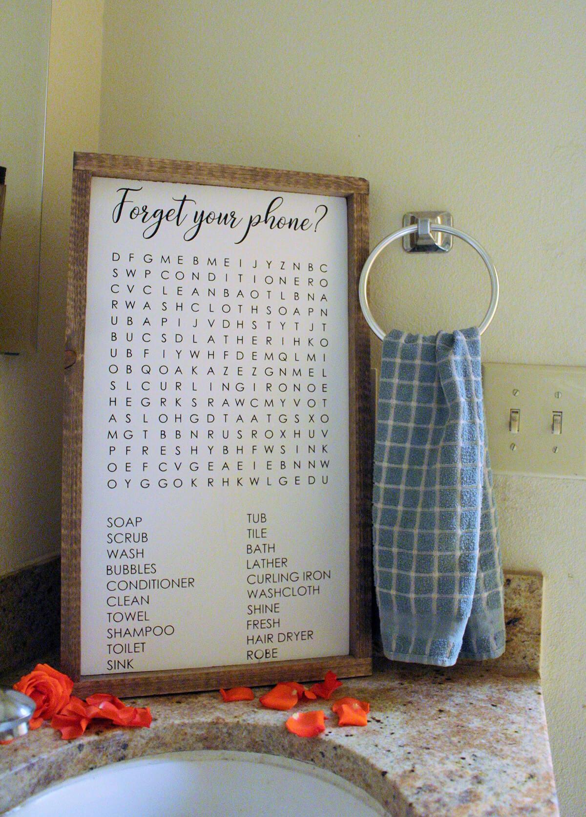 Signe de recherche de mot drôle de salle de bain