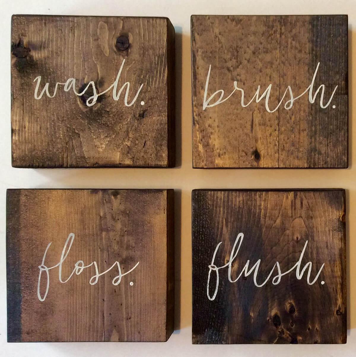 Panneaux de rinçage de brosse de lavage de bloc de bois