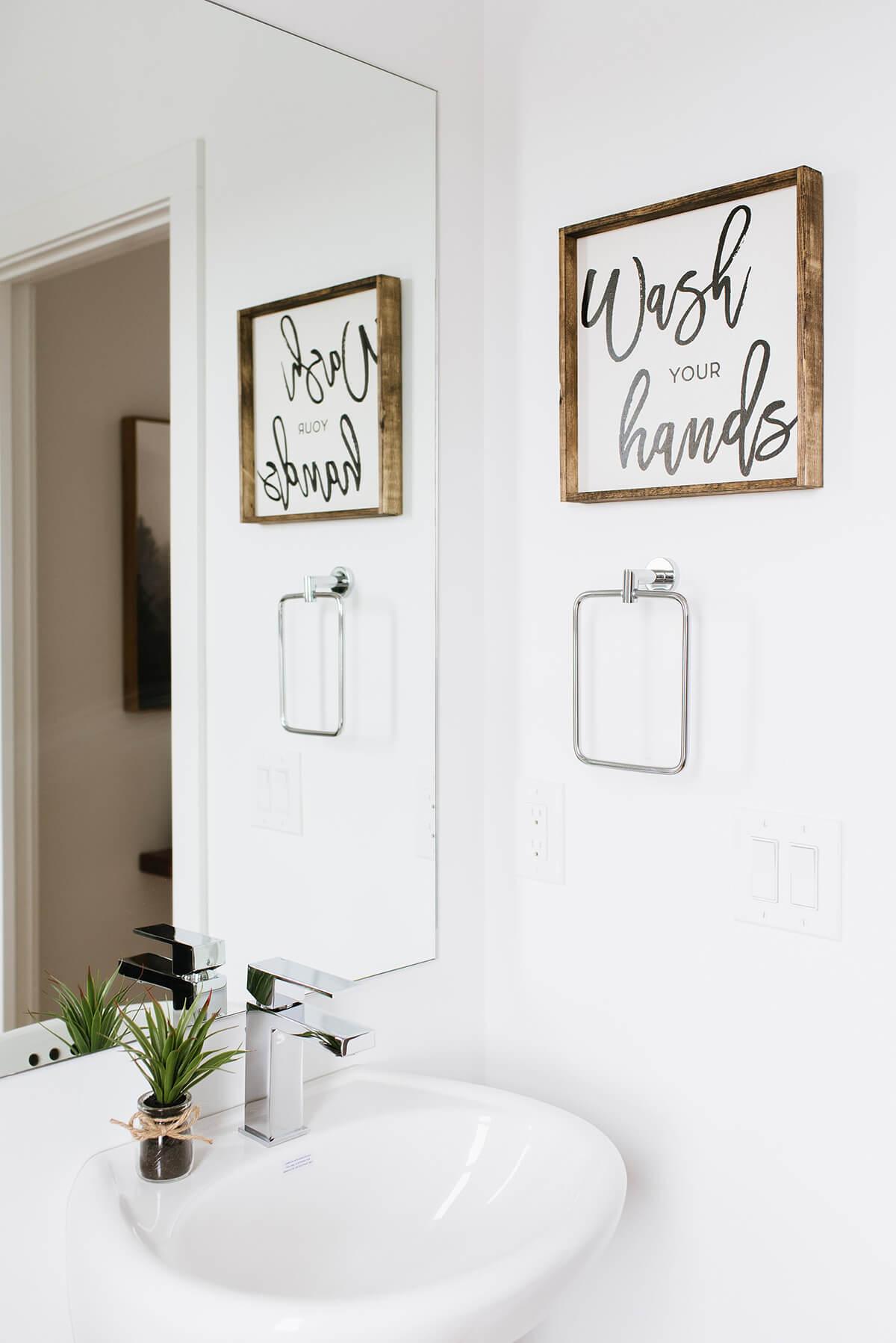Main, lettrage, laver vos mains, signe