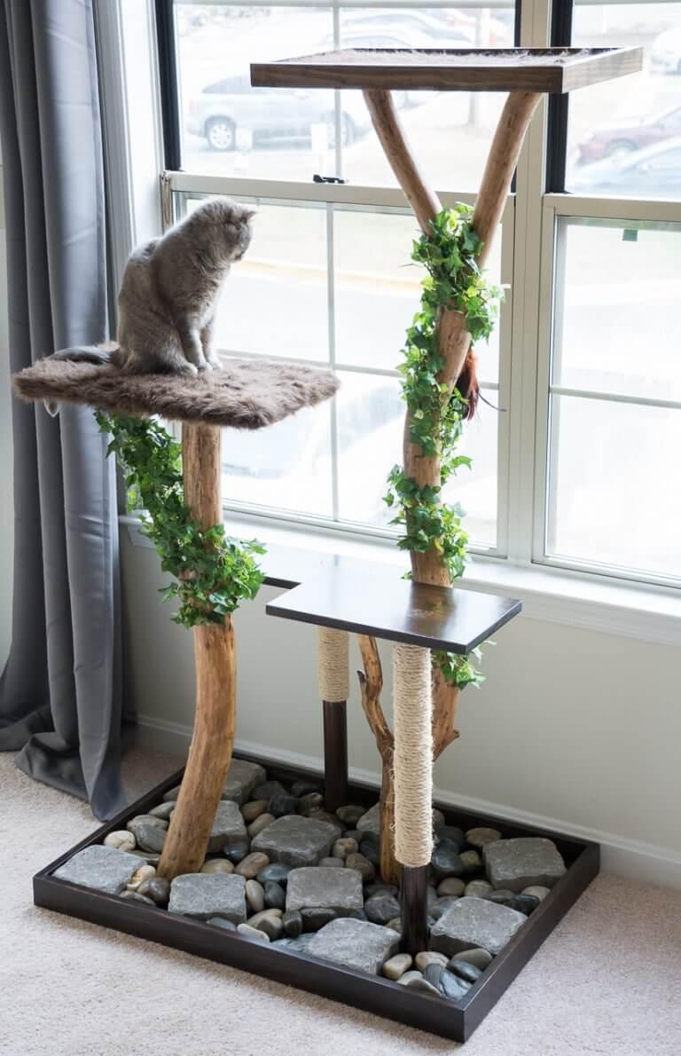 Arbre à chat bricolage et poteau à gratter
