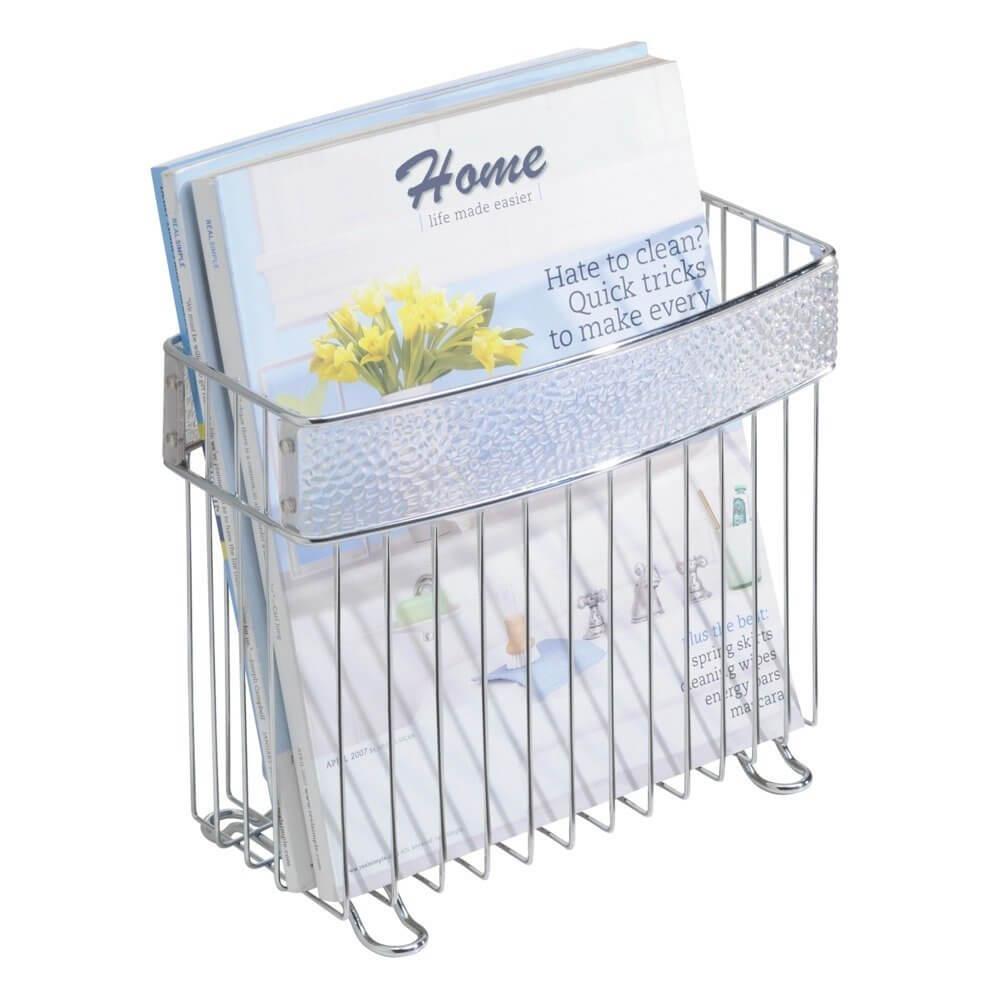 Porte-revues autoportant en chrome pour salle de bain