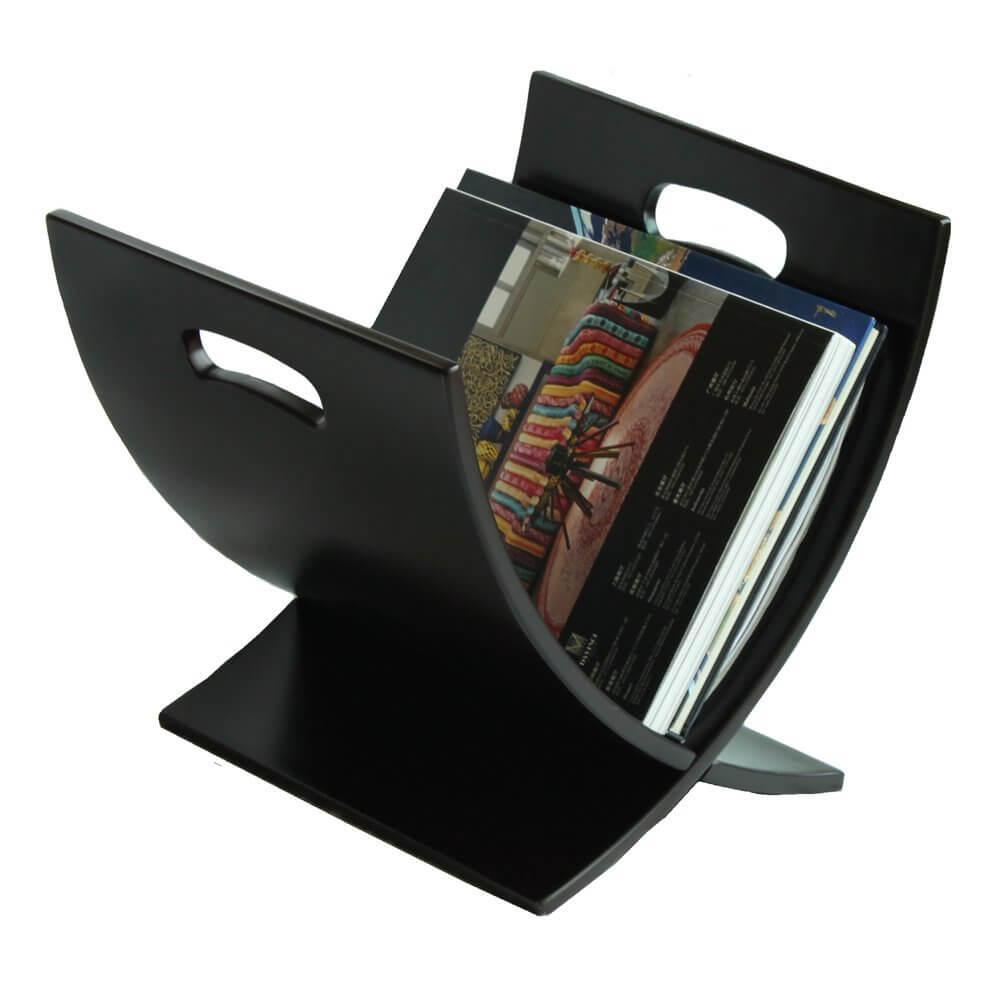 Porte-revues en bois contemporain noir