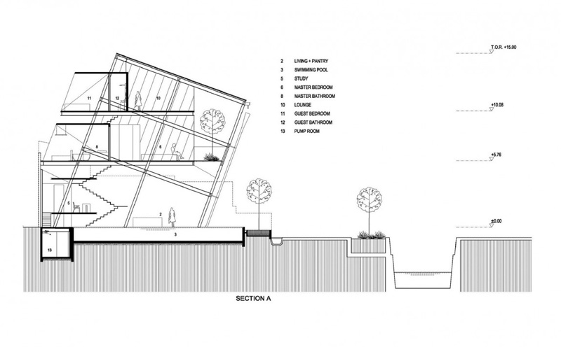 Plan d'esquisse de la maison inclinée