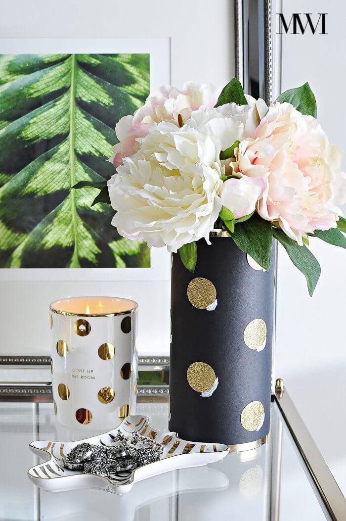Vase Cylindre Chic Noir et Or