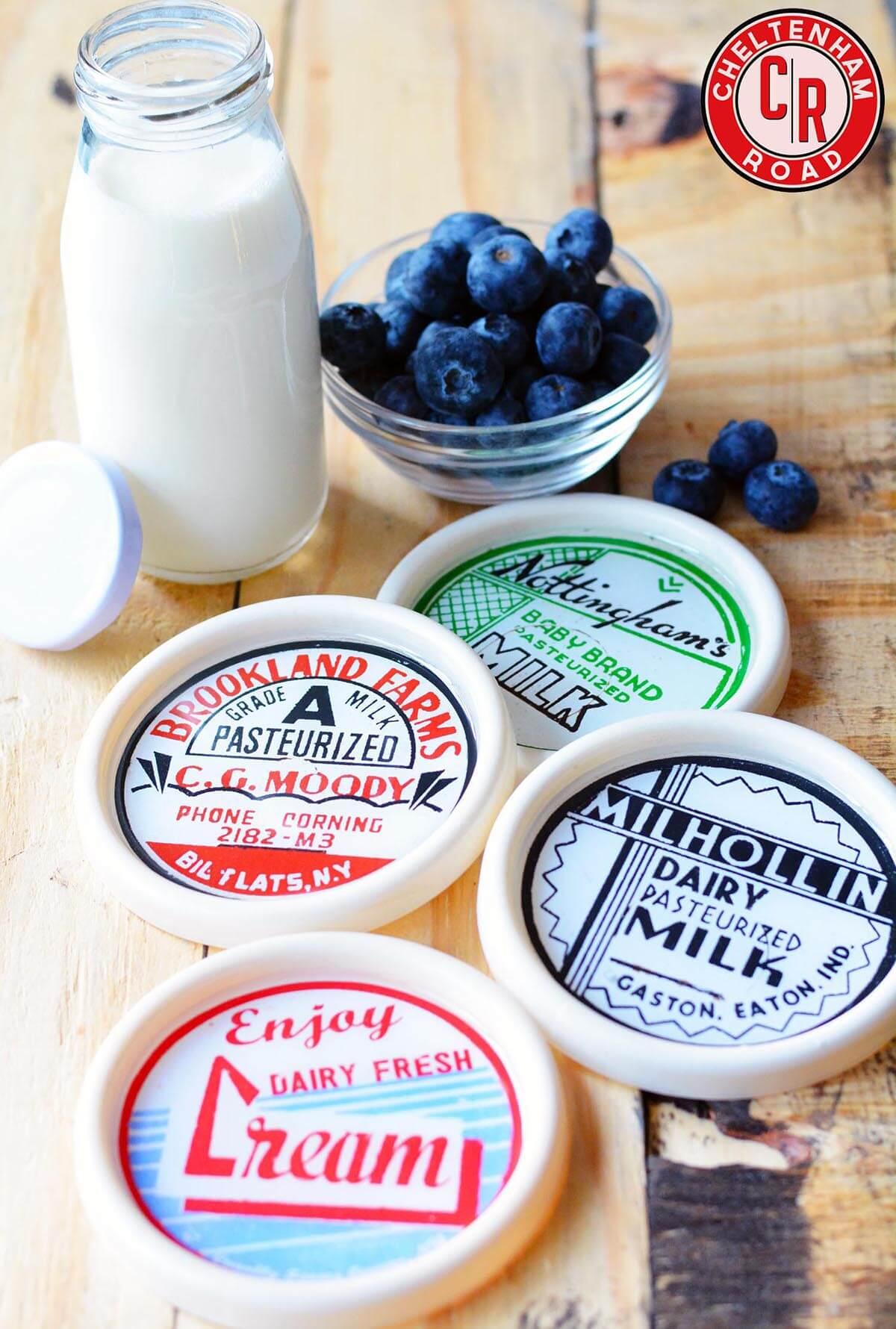 Ensemble de montagnes russes d'étiquettes laitières rétro