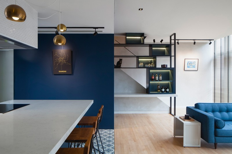 Boîtes d'appartement bleu noir