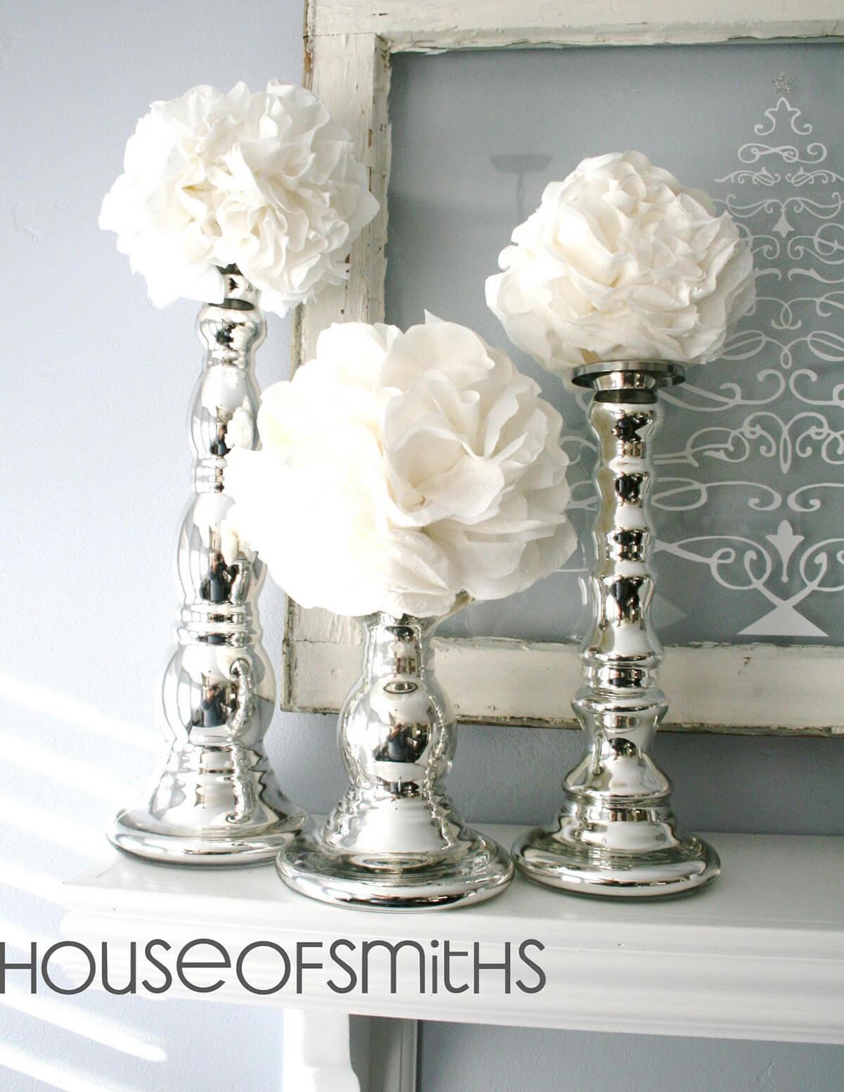 Fleurs blanches en fleurs de chandeliers en argent