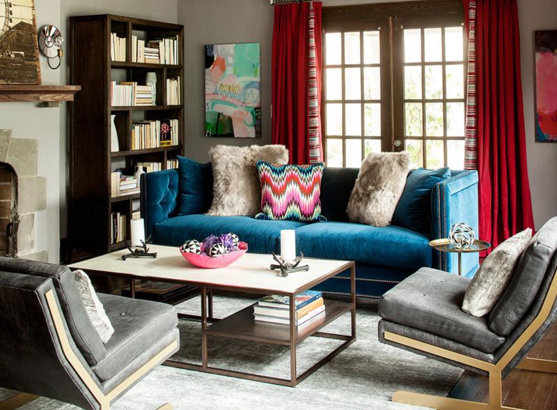 Canapé de salon bleu