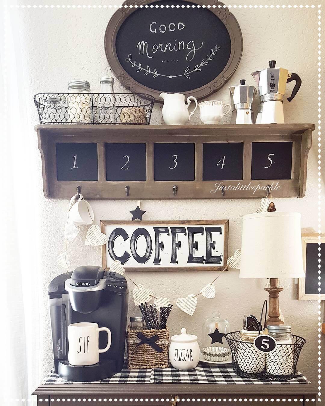 Station de commande de café avec des accents de tableau