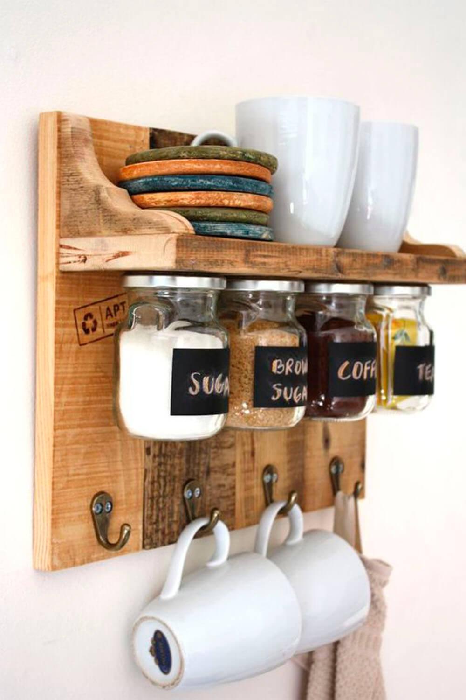 Étagère de rangement pour produits secs et assiettes à faire soi-même