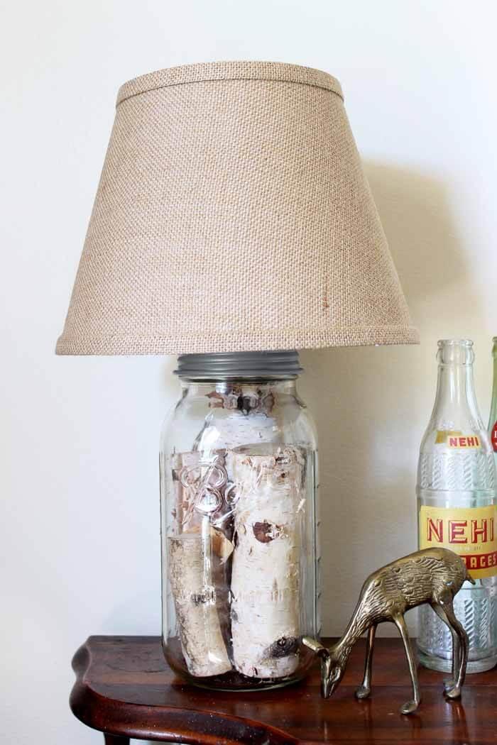 Lampe à bûche Mason Jar impressionnante