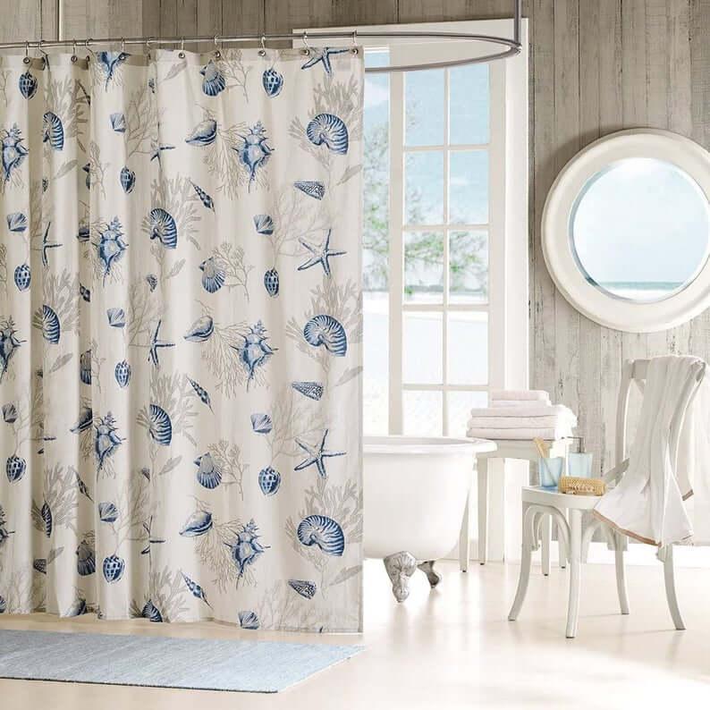 Rideau de douche de mer bleu et gris