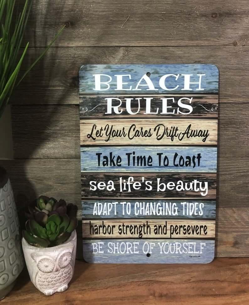 Enseigne murale décorative humoristique de règles de plage