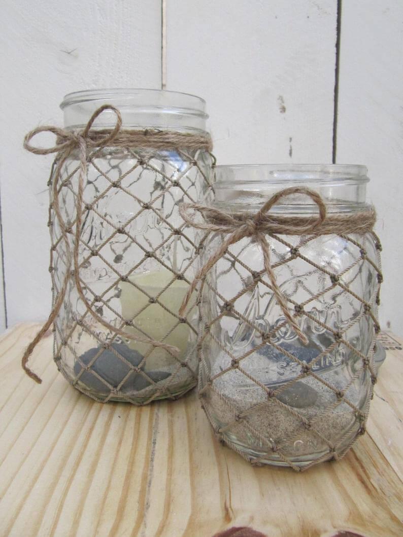 Décorations de bocal à maçon nautique palmées en ficelle
