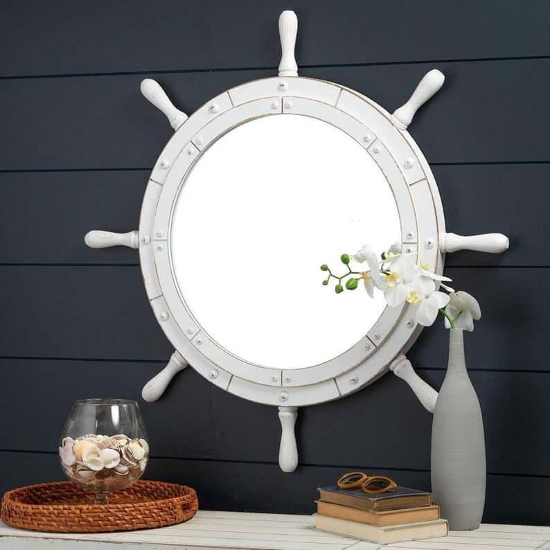 Miroir décoratif de roue de bateau blanc