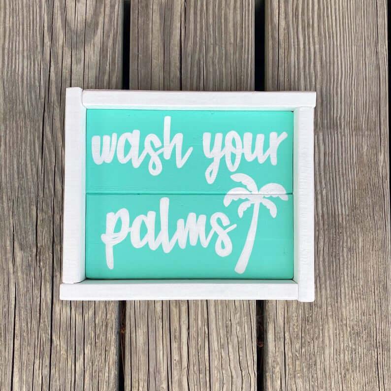 Salle de bain humoristique laver vos paumes signe