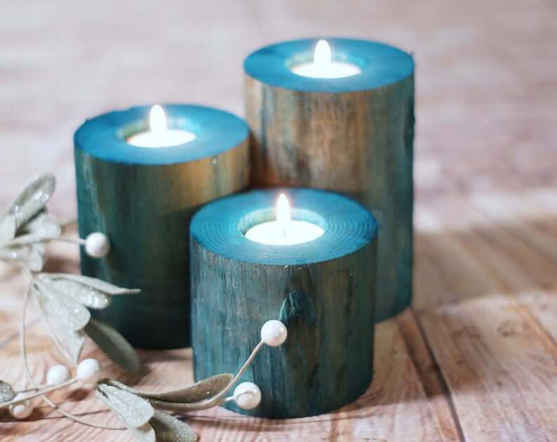 Porte-bougies chauffe-plat en bois teint bleu marine