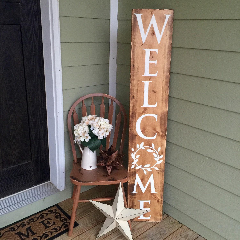 Panneau de bienvenue en bois récupéré