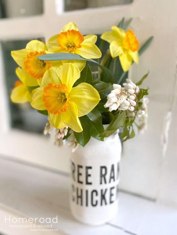 Vase en pot Mason peint Farmhouse Free Range