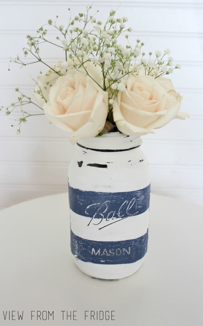 Bocal Mason Rayé Bleu Nautique et Blanc