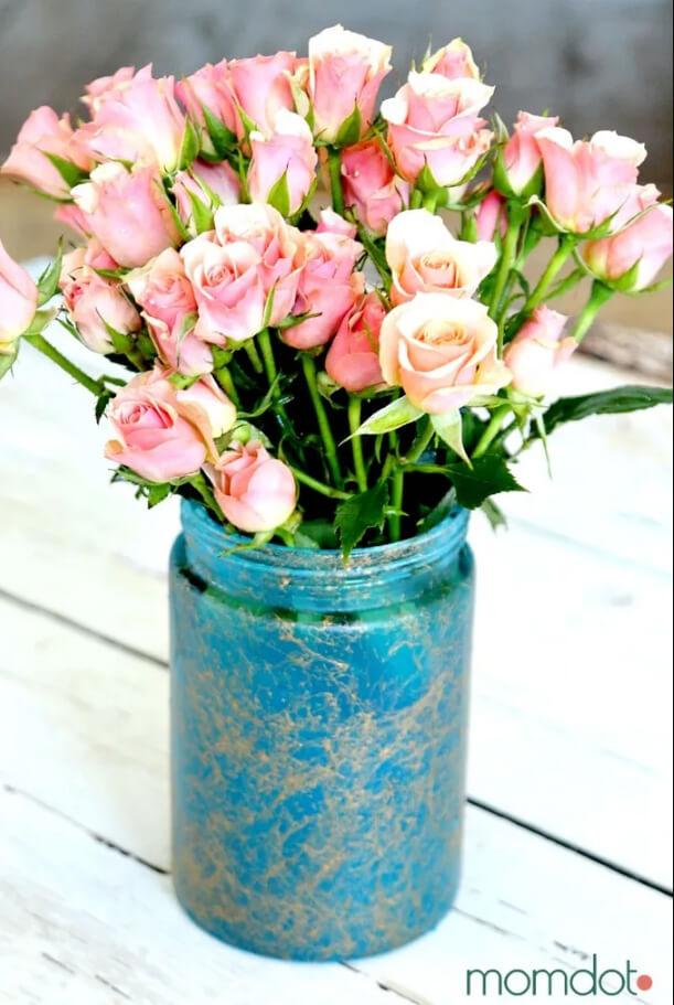 Vase à fleurs en pot Mason marbré hypnotisant
