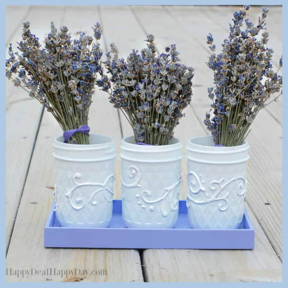 Vases en pot Mason peint à motif surélevé