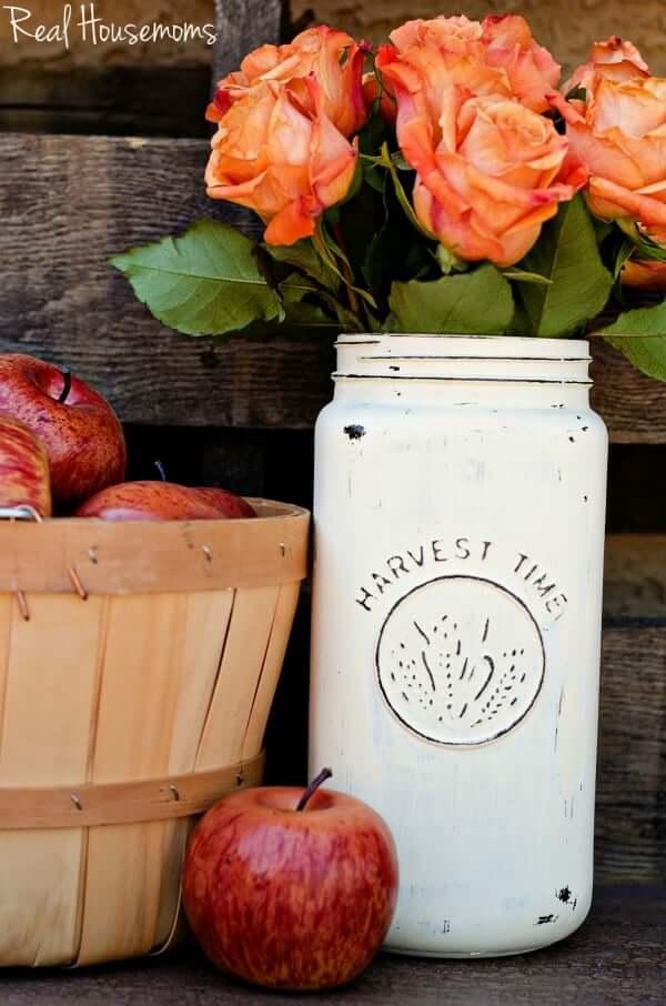 Grand vase en pot Mason peint Harvest Time