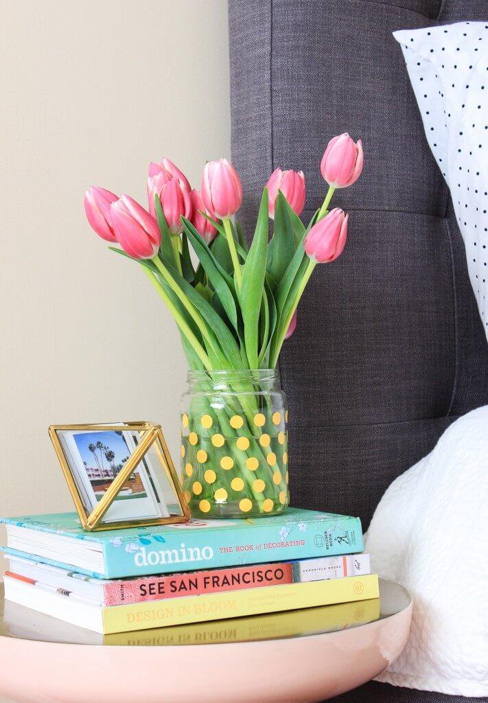 Vase à fleurs bricolage Posh à pois