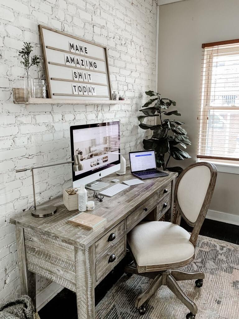Bureau d'écriture de bureau de ferme en bois de grange récupéré gris