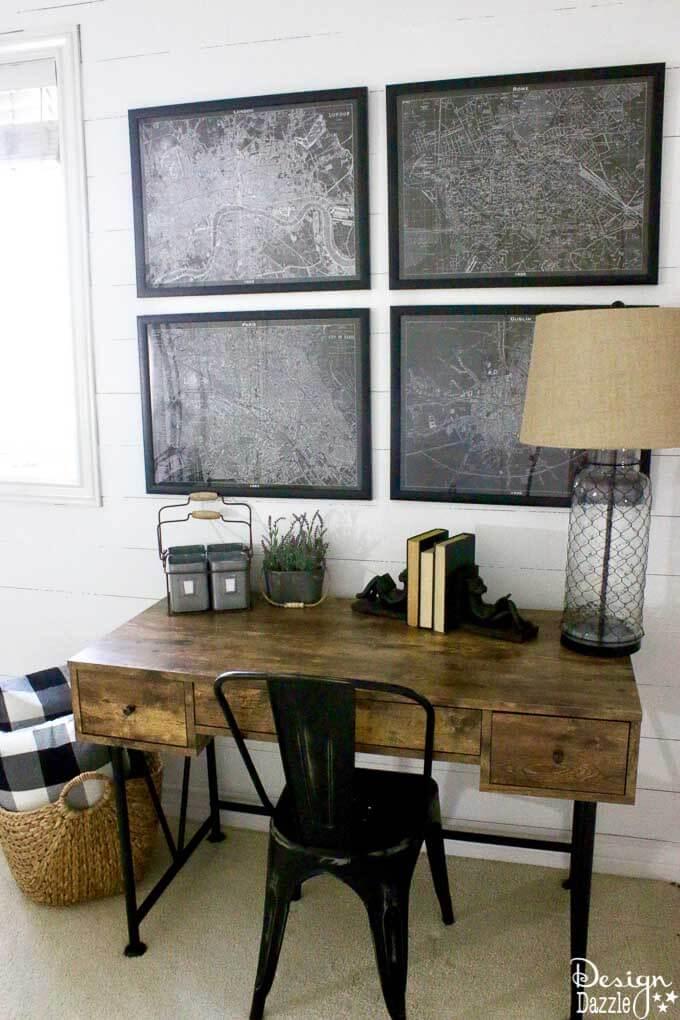 Bureau à 3 tiroirs en bois brun rustique avec pattes en métal noir Art déco