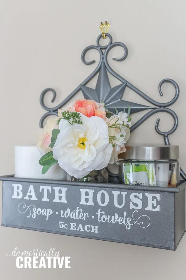 Boîte d'étagère décorative de maison de bain en métal