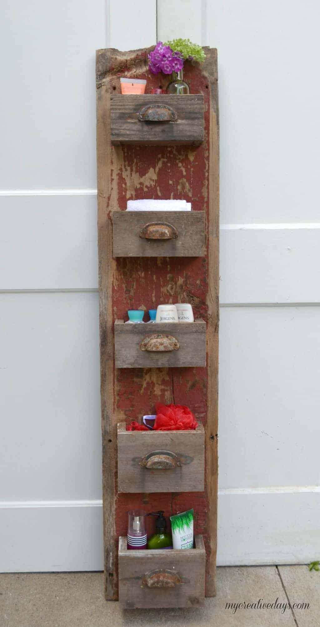Organisateur à 5 tiroirs en bois de grange rouge rustique