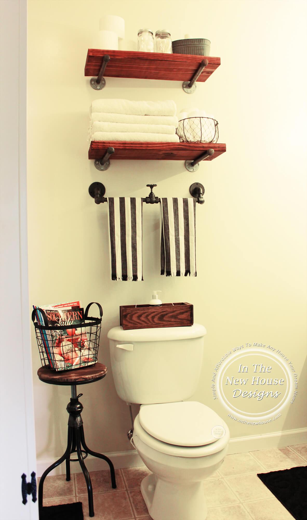 Étagère et support de salle de bains de tuyau industriel moderne