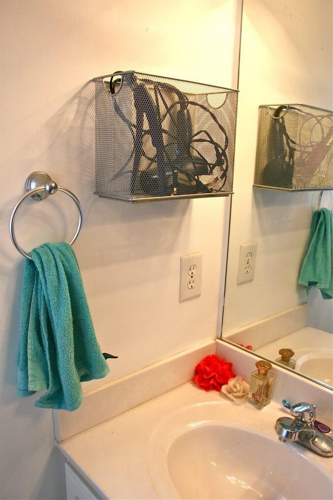 Poubelle en métal en maille pour le stockage du sèche-cheveux