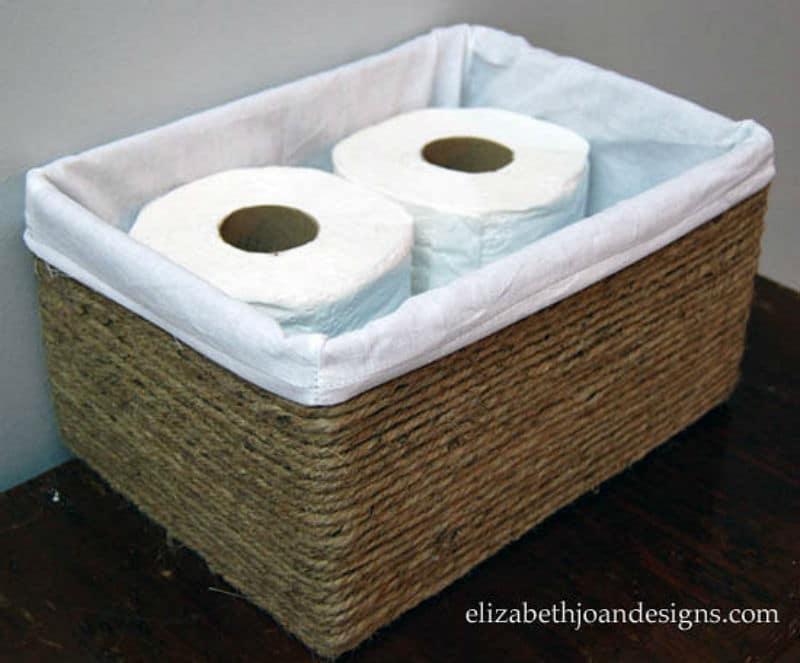 Panier de salle de bain rectangulaire en jute naturel