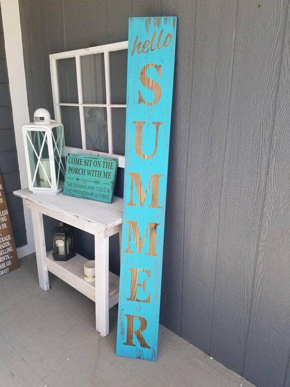 Panneau de bienvenue d'été vertical bleu vif