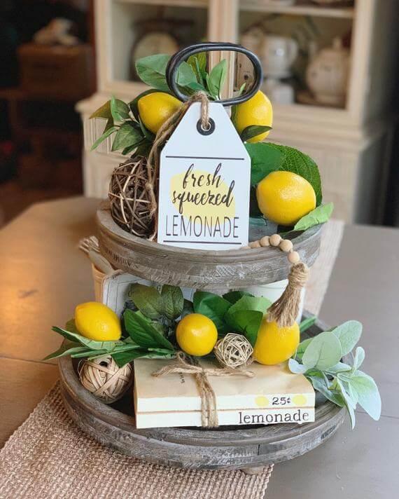 Panneau en bois pour la vente de l'étiquette de citrons