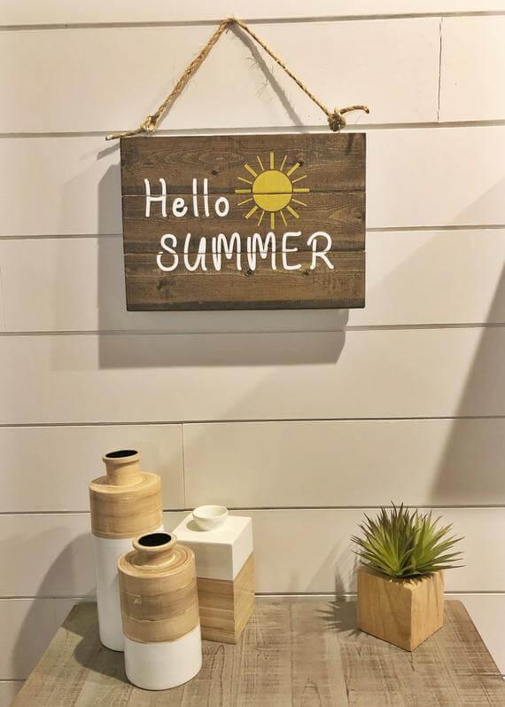 Panneau en bois réversible Welcome Summer Distressed