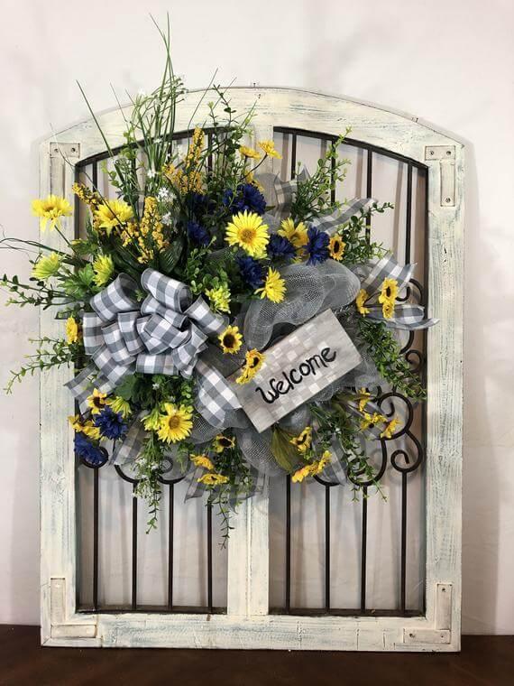 Fleurs animées avec couronne de signe de bienvenue