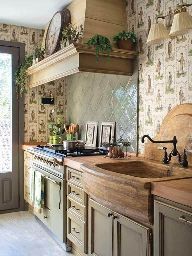Évier de cuisine avec un aspect bois