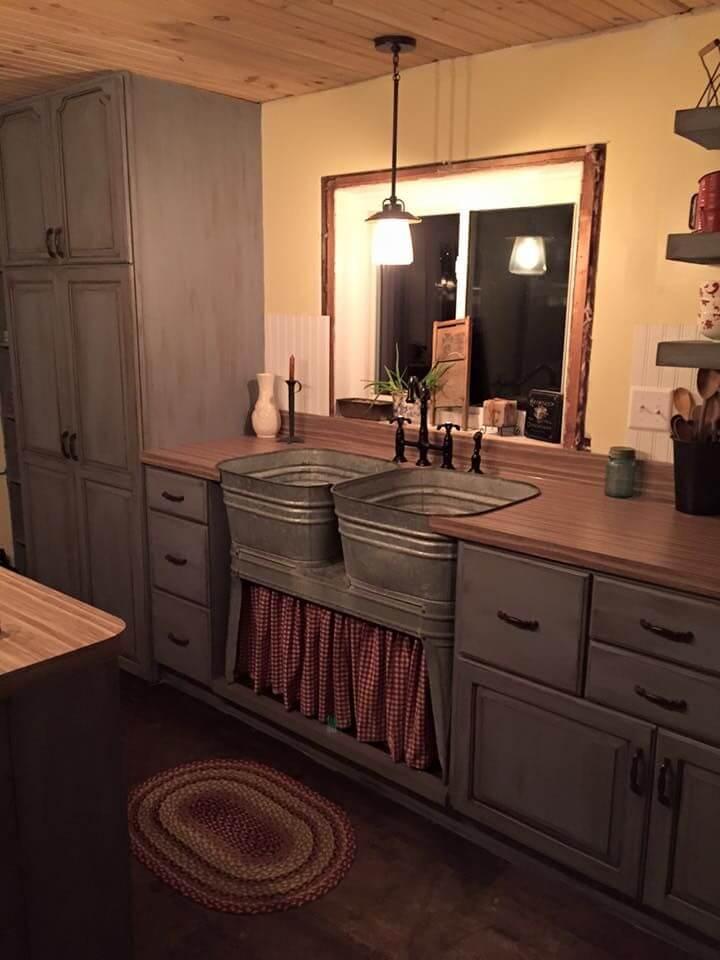 Cuves à linge vintage comme évier de ferme