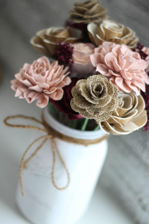 Toile de jute sur le thème de la ferme et fleurs pour toujours Sola Wood