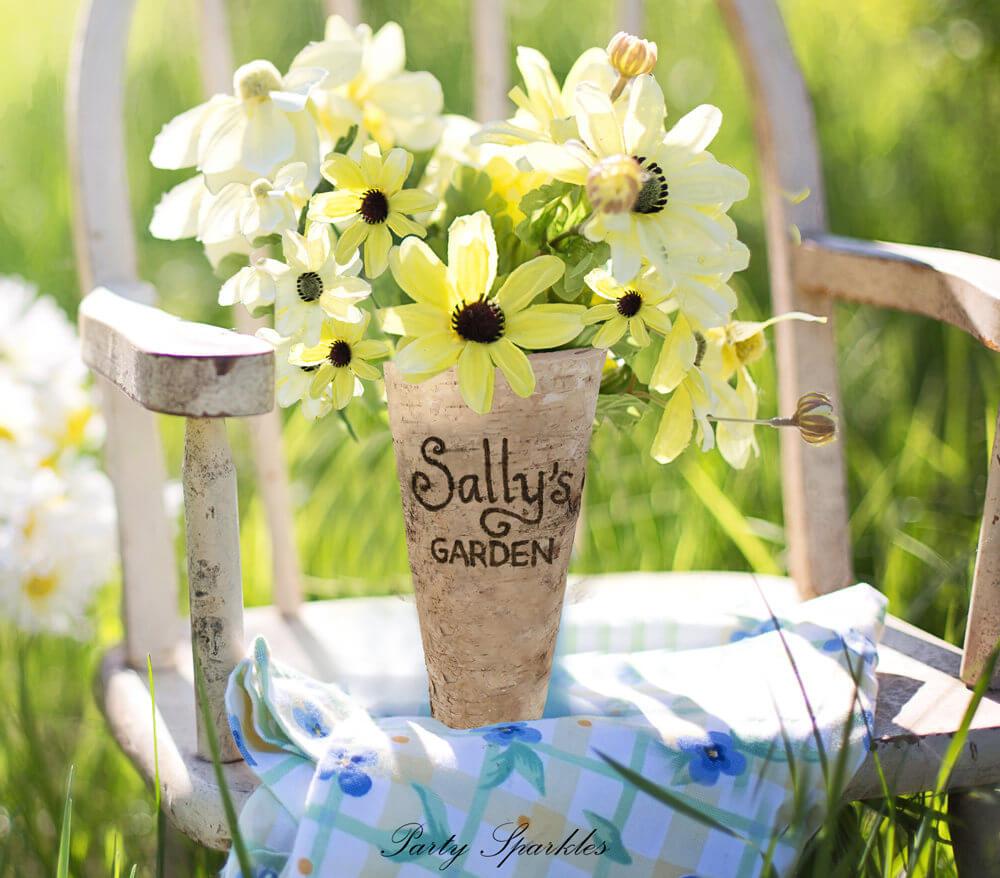 Vase en bouleau personnalisé inspiré du jardin de la ferme