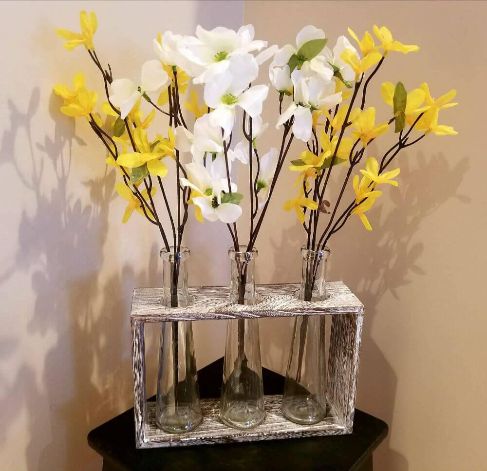 Pièce maîtresse de vase en verre rustique romantique