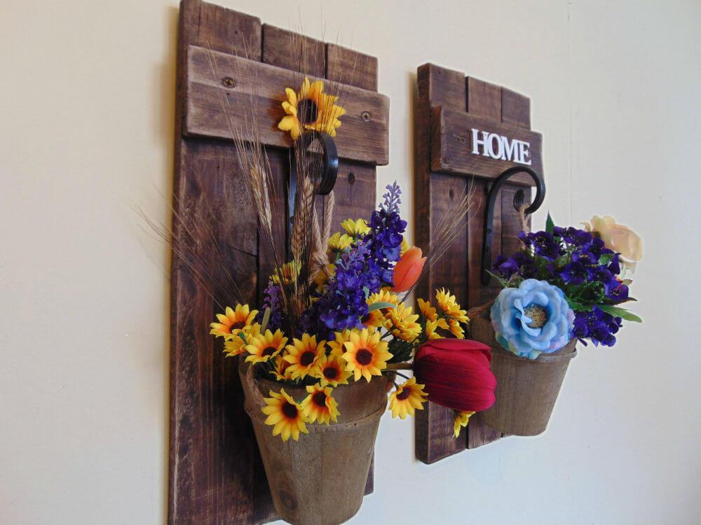Applique murale rustique pour fleurs ou lanternes