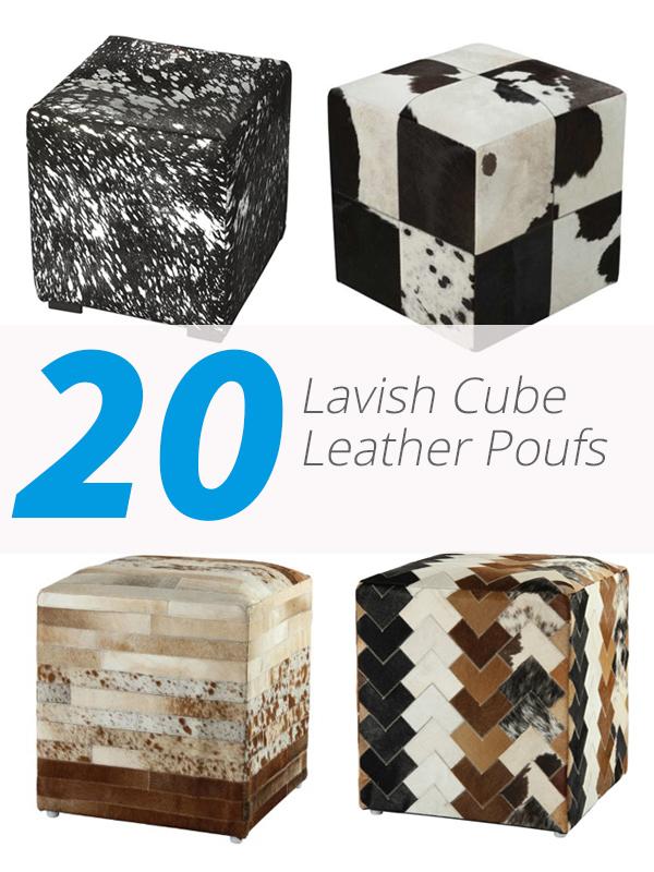 poufs en cuir cube