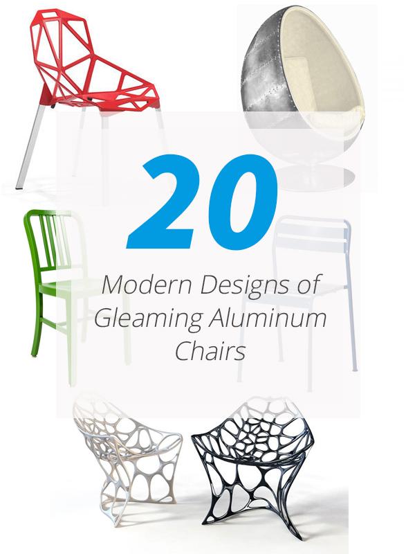 chaises modernes en aluminium