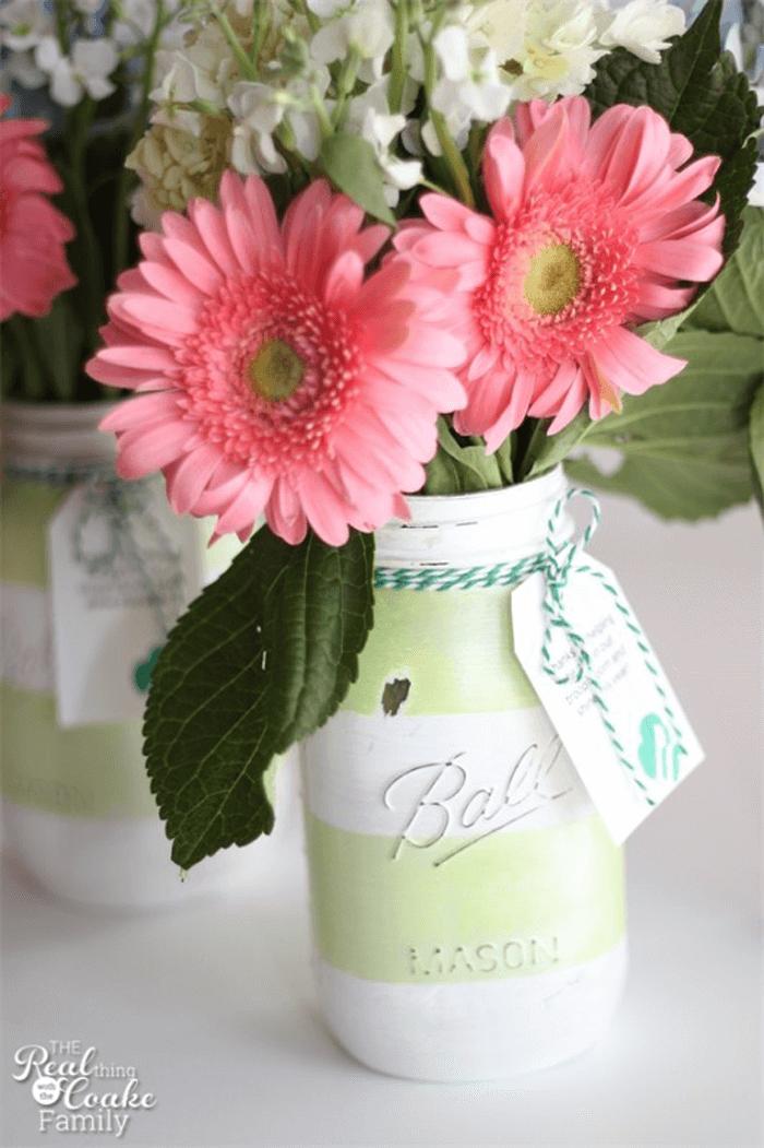 Grande idée cadeau vase en pot Mason peint