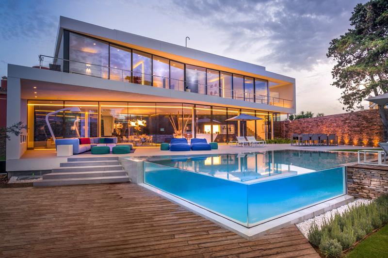 maison de villa bleue